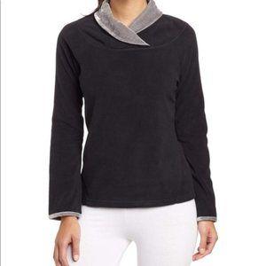 Prana Black Fleece Pullover Shawl Collar Size L